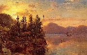 Regis-Francois Gignoux  Lake George at Sunset 1862 oil painting artist